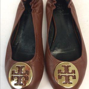 Tory Burch Tan Logo Ballet Flats Size 11